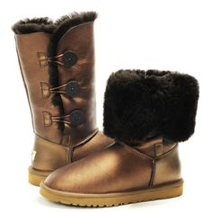 UGG 1873 Bailey Button Triplet Metallic Brown Boots On Sale:Christmas UGG On Sale,All UGG Boots are Save Up to 70% Clearance Sale