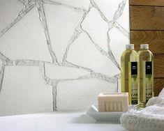 Path custom stone mosaic bathroom backsplash in Thassos, and Calacatta Tia honed. Inexpensive Backsplash Ideas, Cheap Backsplash Tile, Rustic Backsplash, Travertine Backsplash, Backsplash Design, Blue Backsplash, Beadboard Backsplash, Herringbone Backsplash, Kitchen Backsplash