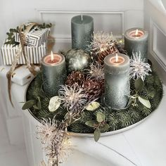 Christmas Advent Wreath, Xmas, Mint Table, Centerpieces, Table Decorations, Christmas Makes, Frozen, Candles, Holiday Decor