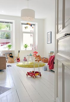 via alvhem. Kid's room - I can't really appreciate kids rooms but this one has good amount of light and wonderful colours that makes the whole room cherry and pleasant