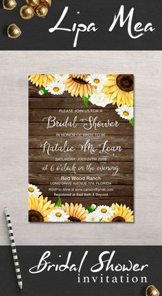 Bridal Shower Invitation Rustic, Sunflower Bridal Shower Invitation, Country Bridal Invite, Printable Bridal Shower Invite Daisy - pinned by pin4etsy.com
