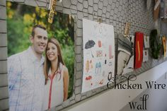 Clothespins and chicken wire for wall treatment