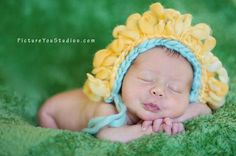 Knit Flower Bonnet for Newborn Baby Photography Prop by PropShop