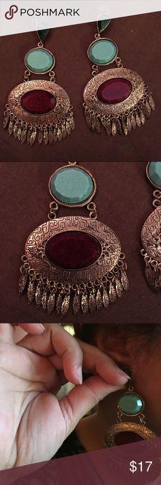 dreamcatcher shaped earrings beautiful design. never worn. lightweight                      keywords: bollywood, bridal, ethnic, boho, indian, Pakistani, party wear, wedding, fancy, dangling, earrings Jewelry Earrings