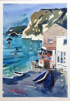 "The Joys of Watercolour- ""High Tide at Schooners"" St.Agnes Cornwall, http://surfyart.blogspot.co.uk"