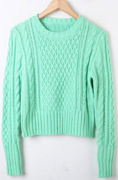 Green Long Sleeve Diaper Crop Pullovers Sweater US$51.61 SKU:sweater12103009