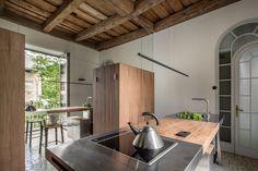 Gallery of Guculska Apartment / replus design bureau - 1 Kitchen Dinning, Diy Kitchen, Kitchen Modern, Kenya, Ukraine, Walnut Kitchen Cabinets, Parquetry Floor, Long Room, Window Fitting