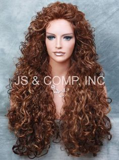 Full Curly and Long layered Stunning wig perm tease Blonde Auburn mix JSN 27-33 #FullWig