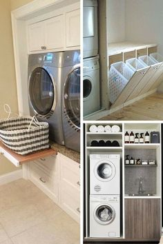 Aménagement Buanderie : 27 Idées Géniales à Piquer Laundry Room Rugs, Laundry Room Doors, Laundry Room Cabinets, Laundry Closet, Laundry Room Organization, Small Laundry, Laundry Room Design, Laundry In Bathroom, Hidden Laundry