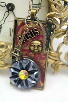 Let's Go to Paris Collage Pendant Necklace Vintage Glass Button OOAK   shadesongs - Jewelry on ArtFire