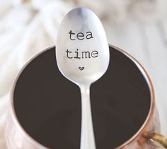 "There is always time for tea! This listing is for ONE (1) ""tea time"" spoon. © 2015 jessicaNdesigns Add a cute coffee mug and a bag of their favorite coffee for the perfect gift! Please read the entire"