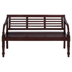 Slat-back wood bench.   Product: BenchConstruction Material: WoodColor: Glossy brownFeatur...