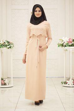 Puane - Gül Nakışlı Pudra Tesettür Elbise 4748PD