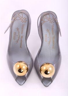 Vivienne Westwood Gray Open Toe Jelly Gold Toe Heels Size 6