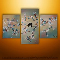 Abstract Asian Tree Blossom Landscape Birds Modern by Catalin, $199.00