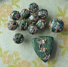 clay+beads | ... pieces for a necklace with variegated Skinner blend polymer clay