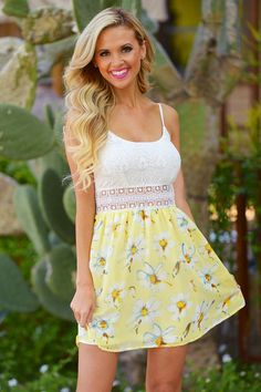 A Walk To Remember Dress - Yellow Floral from Closet Candy Boutique