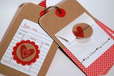 Love Notes Valentine mini - pockets are 3x3; back of each page has an ATC size library card for which she has a printable
