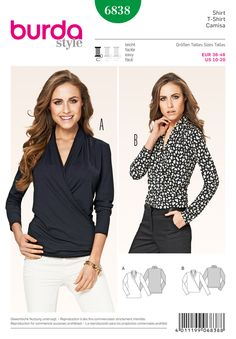 B6838 Casual but smart and trendy, two T-Shirts in different lengths. The wrapped effect and softly draping fronts with notched collars flatter all female figures