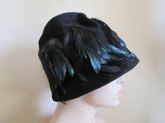 Hat Black Wool Felt Feather Vintage 1960s Calypso Imported Fabric - Shop for Antiques, Vintage & Collectibles - The Vintage Village