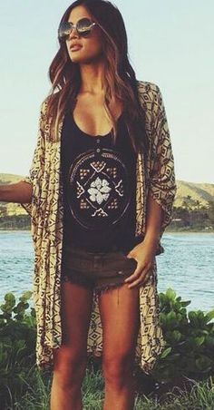 summer wear: olive drab cutoff shorts patterned black tank top baroque kimono shrug and aviators