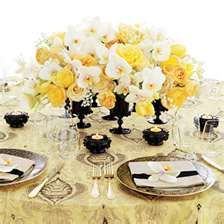 yellow and white wedding centerpieces Yellow Centerpieces, Wedding Centerpieces, Wedding Table, Wedding Decorations, Table Decorations, White Centerpiece, Centerpiece Ideas, Table Centerpieces, Wedding Reception