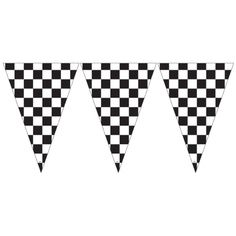 Rêves & Merveilles Formula 1 car race garland with black and white chequered pennants / Formule 1 guirlande