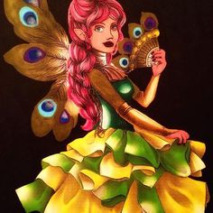 @avec_une_armee_de_couleurs their gorgeous fairy colouring page, done with the Chameleon Pens.