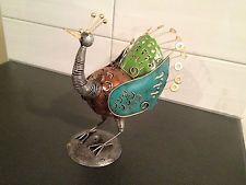 Metal Hanging Candle Holder - Hanging or standing - Pastel Peacock