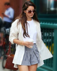 Lana Del Rey. AHH! love this outfit. Who knew gingham could look so polished. #neutrals #casual