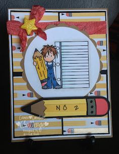 Back to School card using Coral Crush Crinkle Ribbon from 3 Girl Jam
