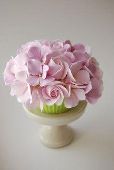 Pink Hydrangea and Rose Cupcake