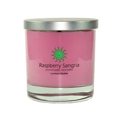 Soy Candle - Raspberry Sangria - 8 oz Soy Candle, Hand Poured Soy Wax Candle In A Premium Rock Glass Container With Brushed Metal Lid