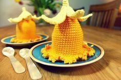 Osterglocken als Tischdeko oder Eierwärmer - oma-strick blog