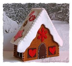 Gingerbread House - Left Side - Christmas Craft Project - How to Make a Felt Gingerbread House
