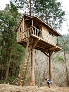Excellent Gardening Ideas On Your Utilized Espresso Grounds An Amazing Two Tree Treehouse With Rustic Ship Lap Siding And Natural Branch Railings Treehouse Builders, Building A Treehouse, Building A Deck, Treehouse Ideas, Tree House Deck, Tree House Plans, Cool Tree Houses, Tree House Designs, Two Trees