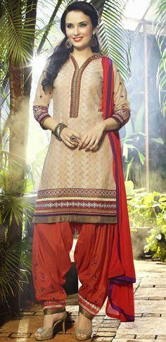 USD 31.53 Cream Cotton Jacquard Punjabi Suit 47502