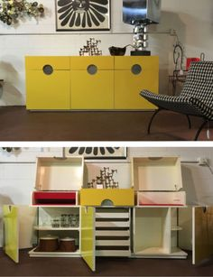 Vintage-Pierre-Cardin-Style-Yellow-Expanding-Credenza-Buffet-Mid-Century-Modern