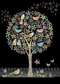 Song Birds by Jane Crowther, Bug Art. Madhubani Art, Madhubani Painting, Frida Art, Art Carte, Bug Art, Indian Art Paintings, Art Birthday, Birthday Cards, Elephant Art