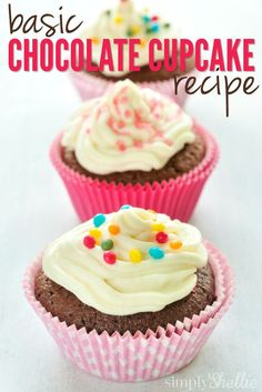 Every baker needs a Basic Chocolate Cupcake recipe! This tried and true recipe is a favorite in our house and my go-to when I need to bake cupcakes for school parties, birthdays and more.