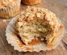 Banana Oatmeal Muffin with Pecan Brown Sugar Topping - The warm flavors of cinnamon and nutmeg are perfectly proportioned to not over power but blend in and enhance the over all muffin taste