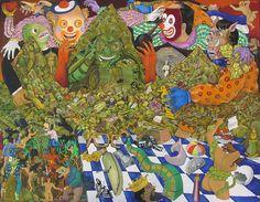 Dagoberto NOLASCO : Los Estrategas ; 1991 ; acrílico sobre tela ; 96cm x 123cm ; colección MDAA (adquirido del artista)
