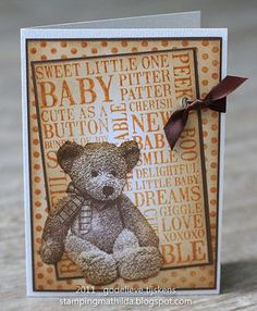 Card by Godelieve Tijskens using Darkroom Door Baby Word Block Stamp and Hello Baby Vol 1 Rubber Stamp set with the Dots Background Stamp.