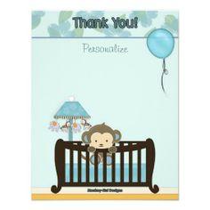 Monkey Baby Shower FLAT#1 Thank You BLUE Personalized Invite