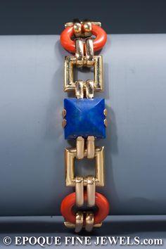 Cartier ,An Art Deco gold, lapis and coral bracelet,