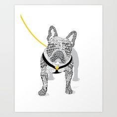 Typographic French Bulldog - Yellow Art Print