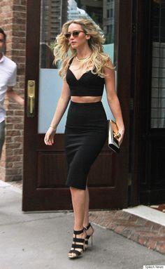 Jennifer Lawrence rocks a black crop top and pencil skirt