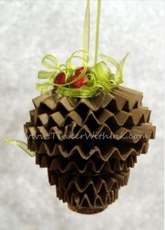 Cardboard Pinecone Christmas Tree Ornament - Creative Fat Grrl