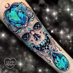 Skull tattoo art by Lilian Raya Tattoos Girly Skull Tattoos, Dope Tattoos, Sweet Tattoos, Badass Tattoos, Pretty Tattoos, Unique Tattoos, Beautiful Tattoos, Body Art Tattoos, Tatoos