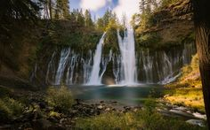 Download wallpapers Burney Falls, autumn, waterfall, lake, forest, Burney Creek, California, USA